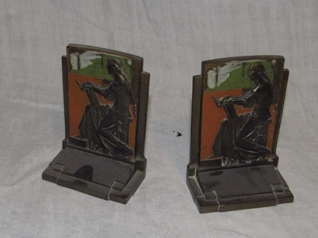1925 Meditation Pompeian Bronze Bookends