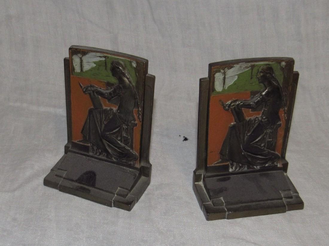 1925 Meditation Pompeian Bronze Bookends