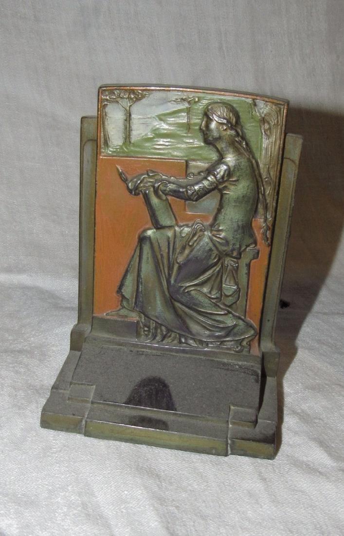 1925 Meditation Pompeian Bronze Bookends - 2