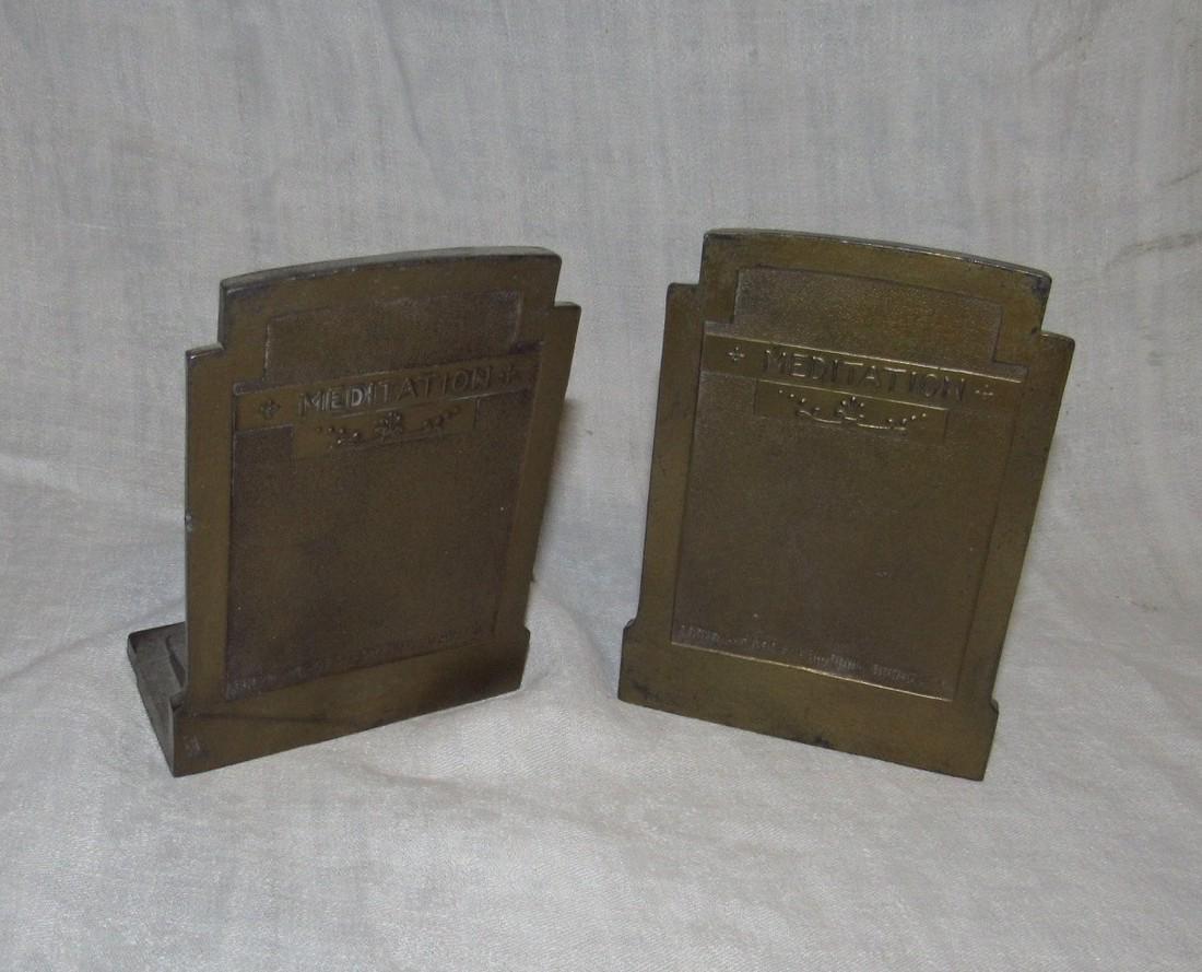 1925 Meditation Pompeian Bronze Bookends - 3