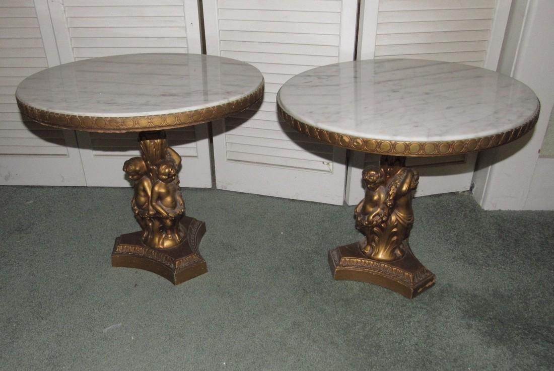 2 JB Vansciver Marble Top Tables w/ Cherubs