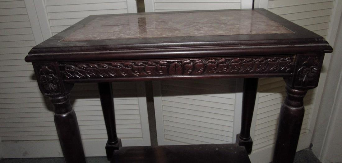 Carved Walnut Marble Top Table - 2