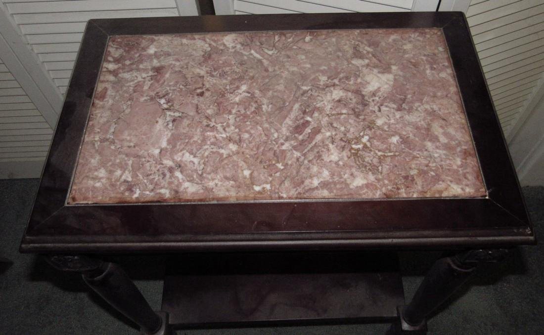 Carved Walnut Marble Top Table - 3