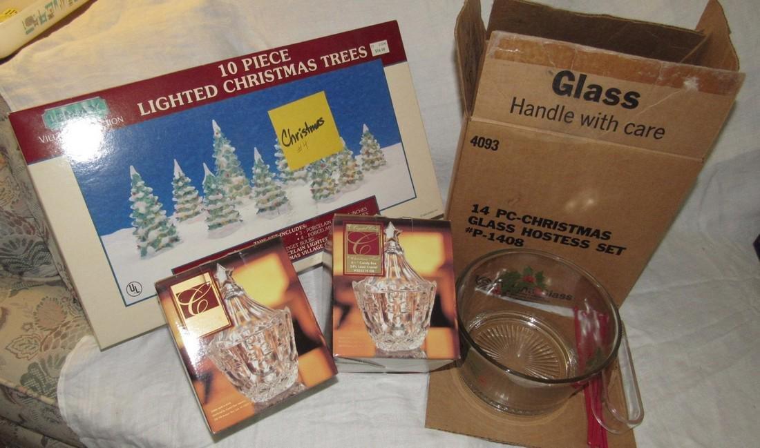 Christmas Hostess Set Lighted Trees & Crystal
