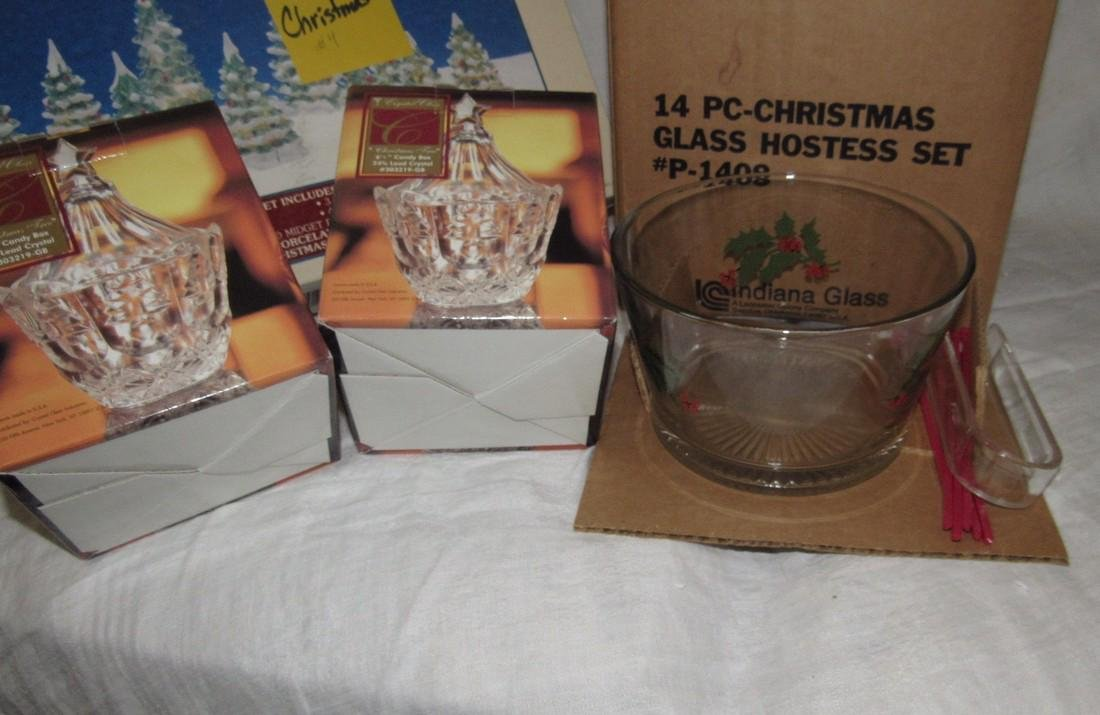 Christmas Hostess Set Lighted Trees & Crystal - 2