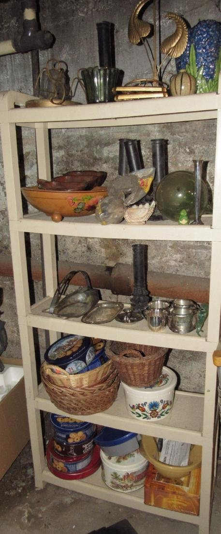 Misc Shelf Contents Silverplate Woodenware