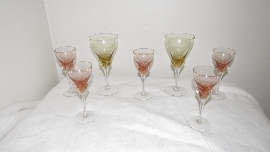 9 Antique Champagne / Wine Glasses