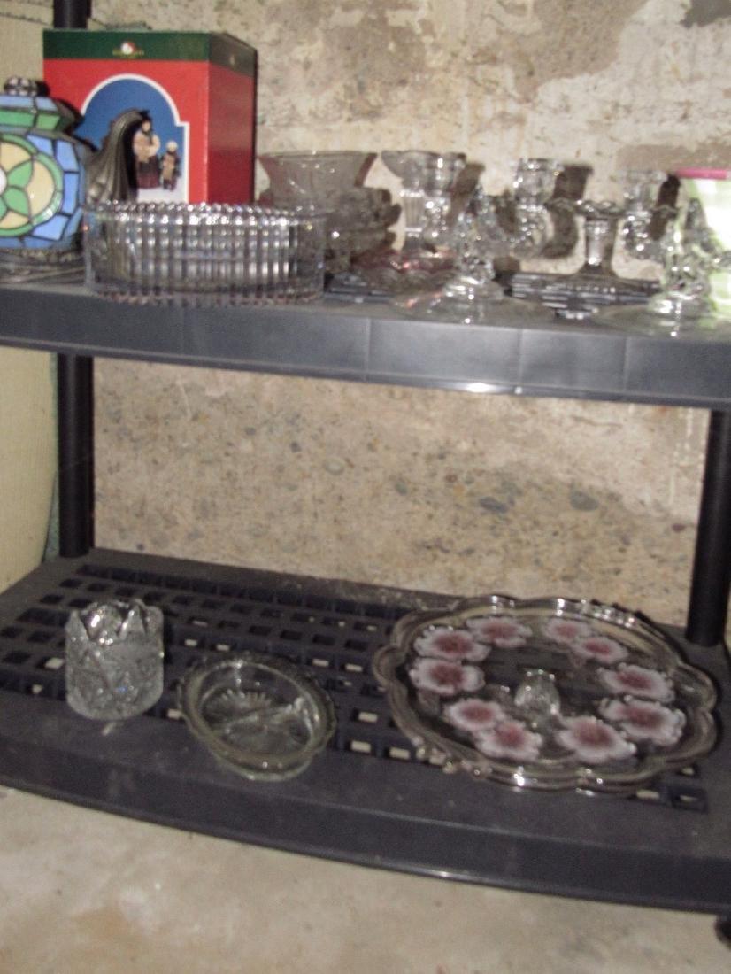 2 Shelves of Glassware