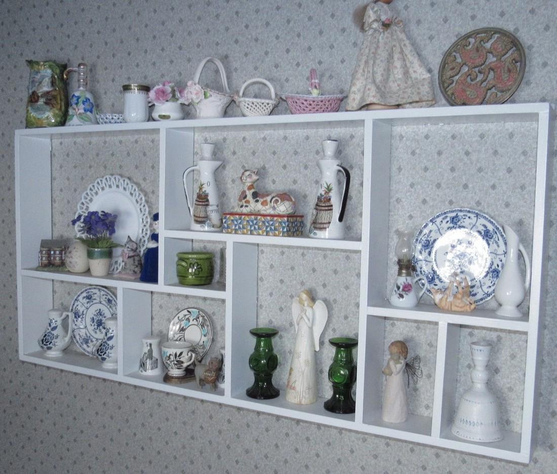 Contents of Shelf Knick Knacks Plates Glassware