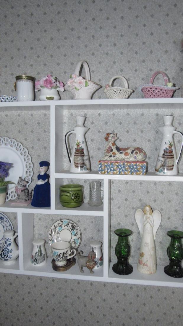 Contents of Shelf Knick Knacks Plates Glassware - 3