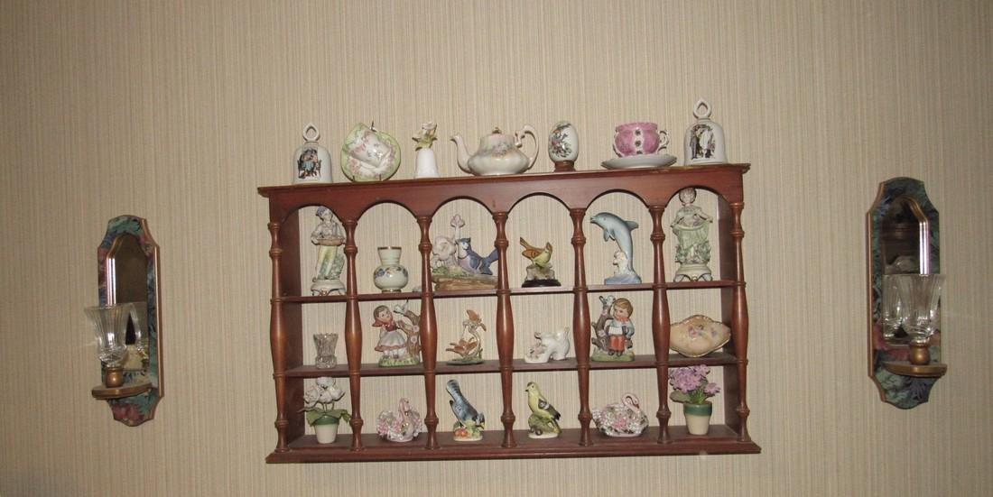Knick Knacks Birds Bells Cups Saucers Shelf Lot