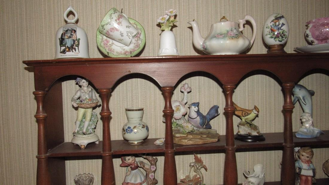 Knick Knacks Birds Bells Cups Saucers Shelf Lot - 3