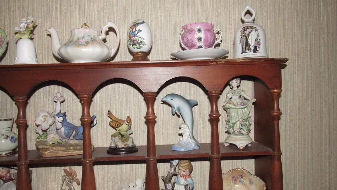 Knick Knacks Birds Bells Cups Saucers Shelf Lot - 4