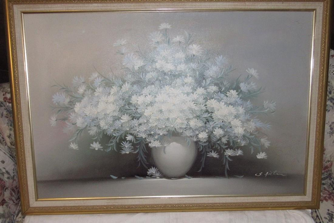 S. Hilton Floral Oil Painting on Canvas