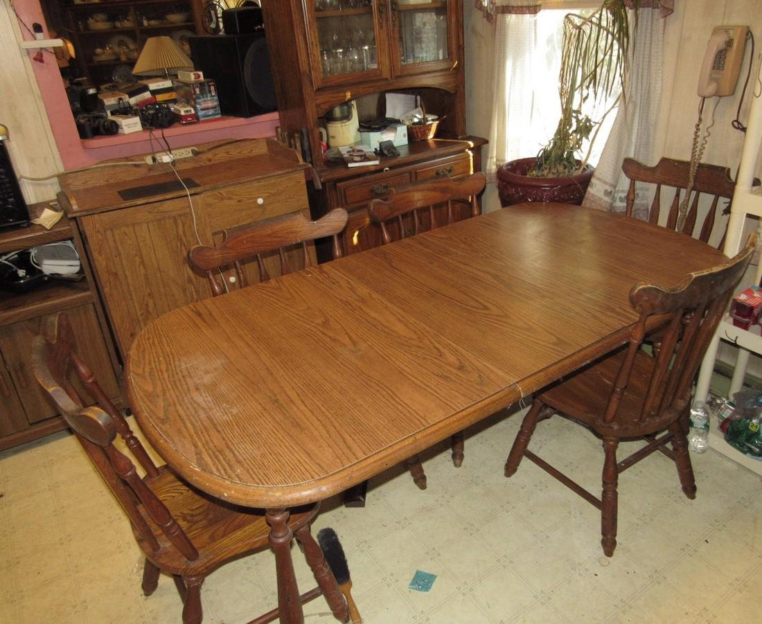Kitchen Table 6 Chairs Hutch & Cabinets - 2