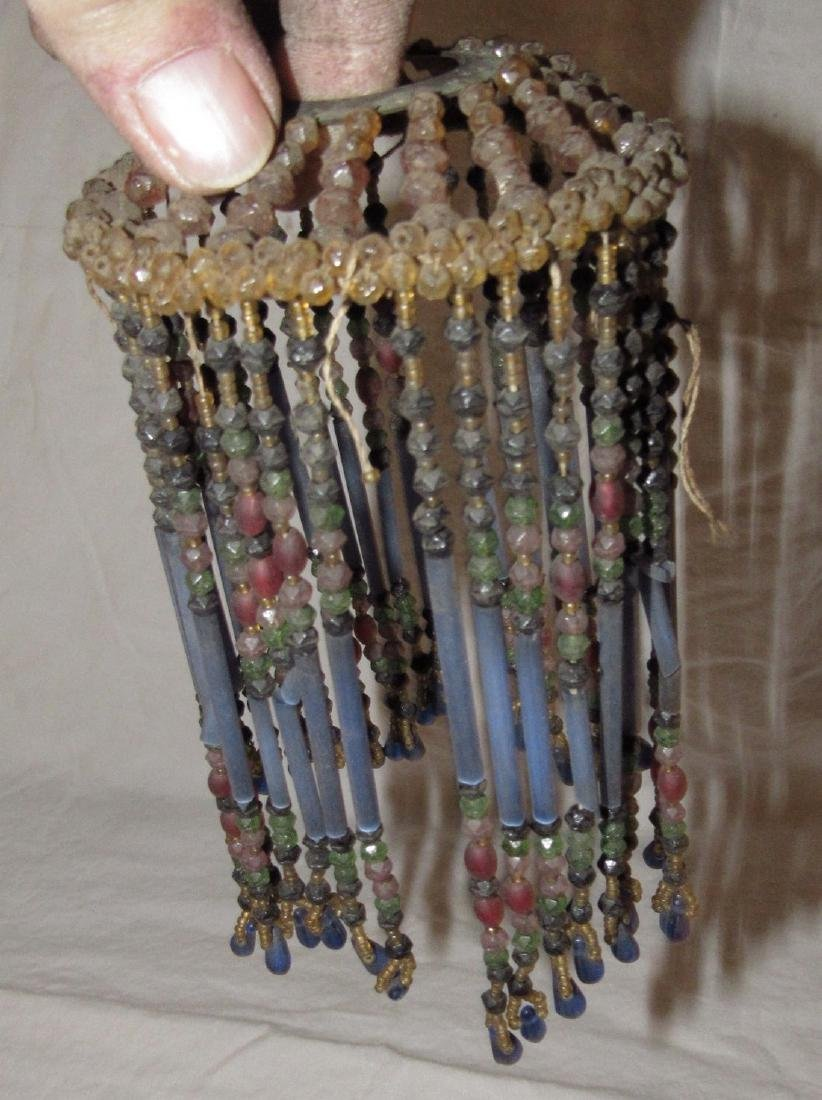 Antique Beaded Lamp Shade - 5