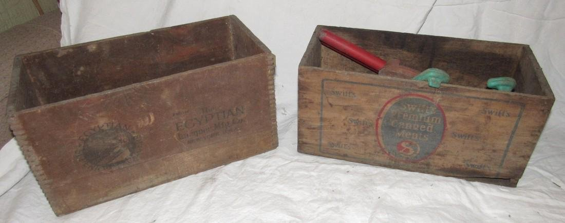 2 Wooden Crates Egyptian Laquer & Corned Beef