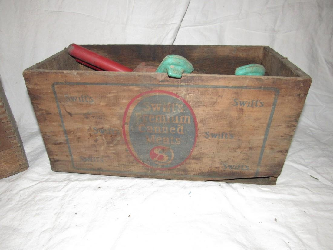 2 Wooden Crates Egyptian Laquer & Corned Beef - 2