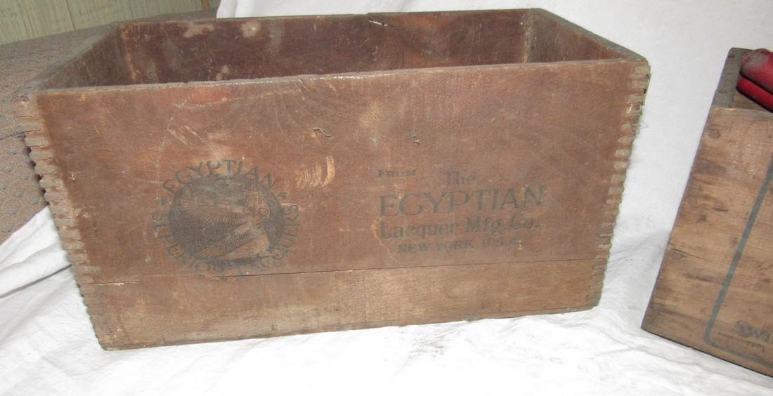 2 Wooden Crates Egyptian Laquer & Corned Beef - 3