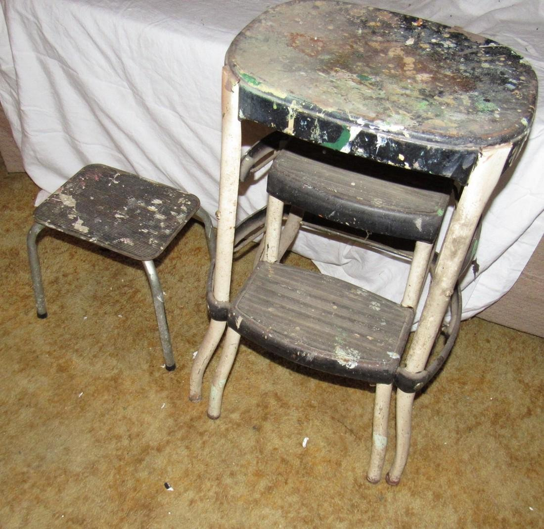 2 Vintage Metal Step Stools