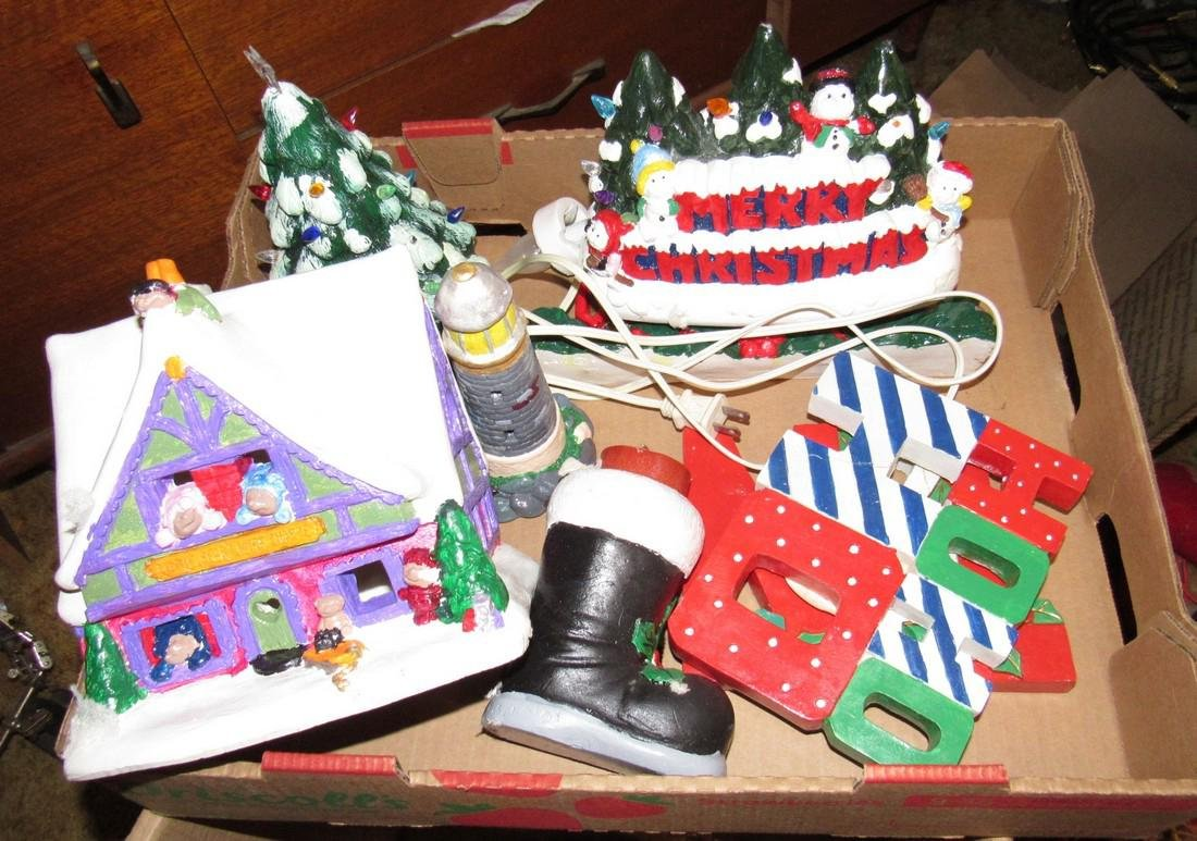 Vintage Ceramic Christmas Trees Houses