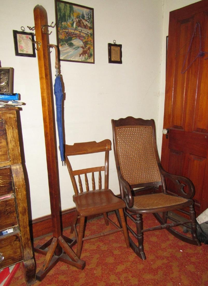 Cane Seat Rocker Clothes Tree & Chair