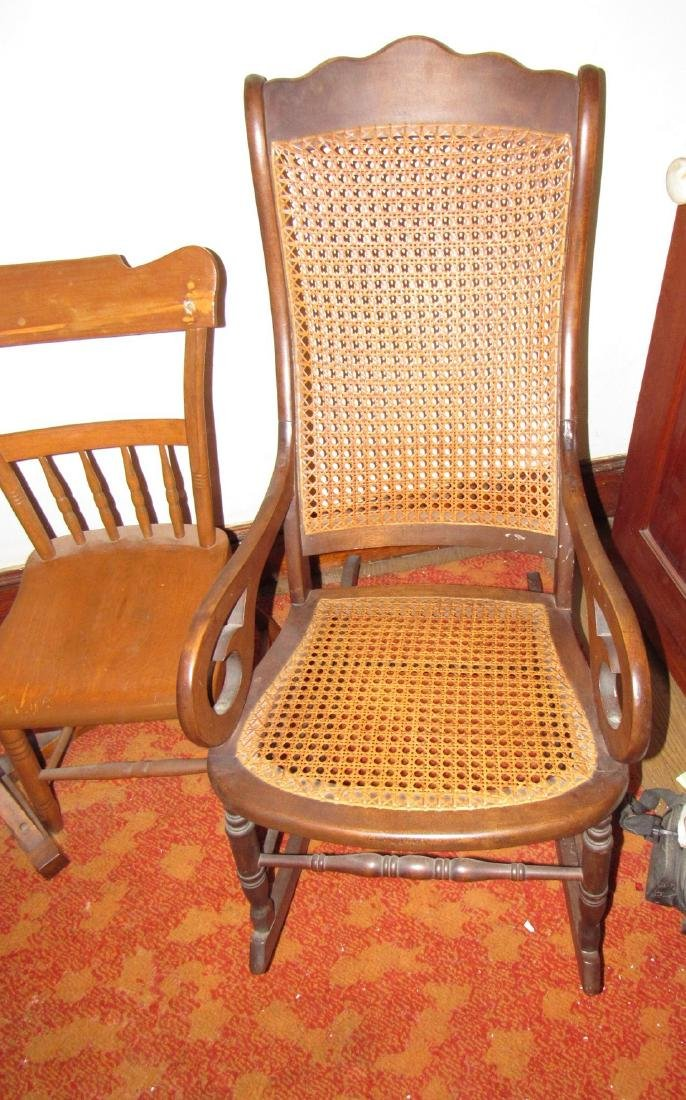 Cane Seat Rocker Clothes Tree & Chair - 3