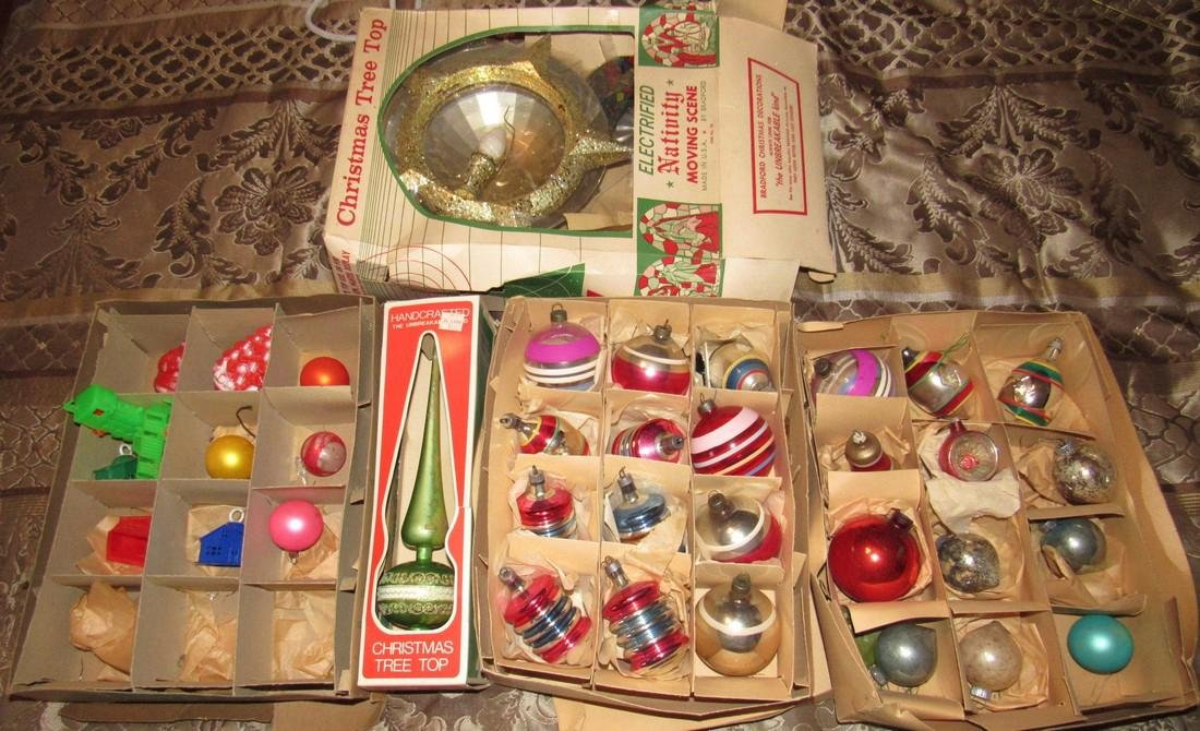 Lot of Vintage Christmas Ornaments & Tree Top