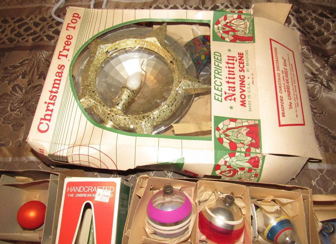 Lot of Vintage Christmas Ornaments & Tree Top - 5