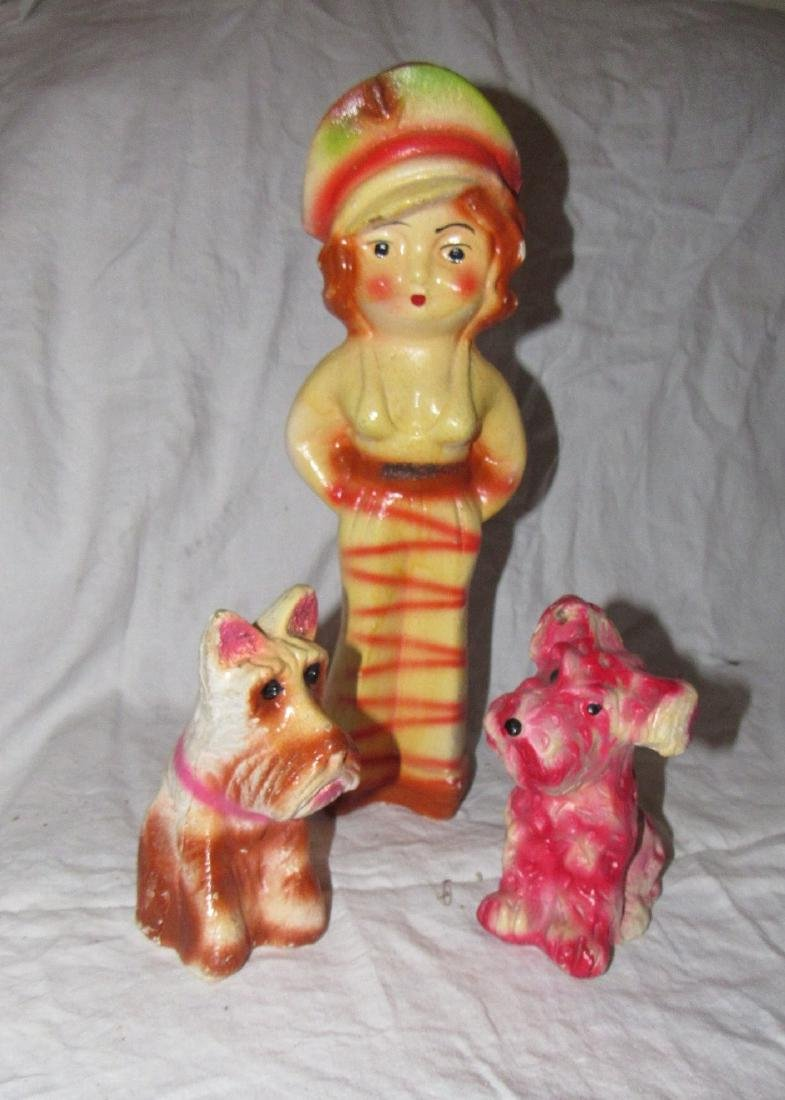 Plaster Woman Sailor and 2 Scotty Dogs