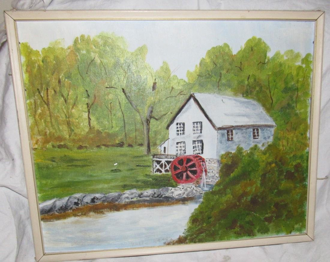 2 Oil Paintings On Board Mill and Country Barn Scene