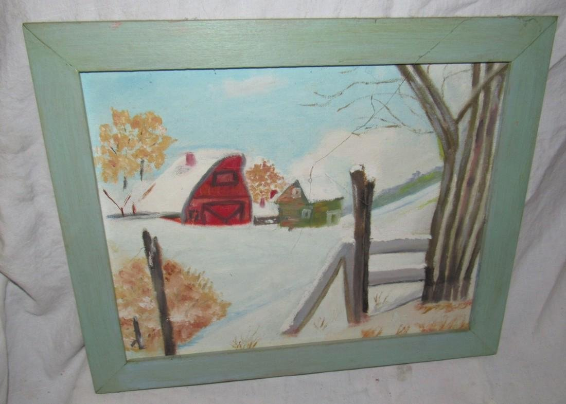 2 Oil Paintings On Board Mill and Country Barn Scene - 4