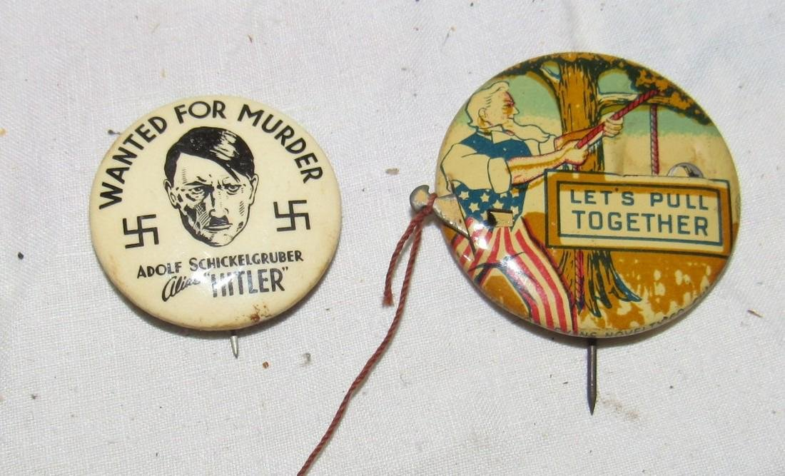 2 Adolf Hitler Buttons 1 Patriotic Mechanical