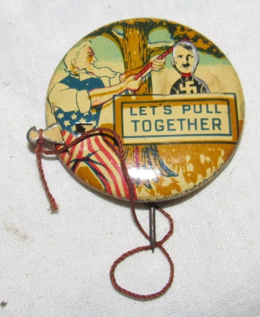 2 Adolf Hitler Buttons 1 Patriotic Mechanical - 3