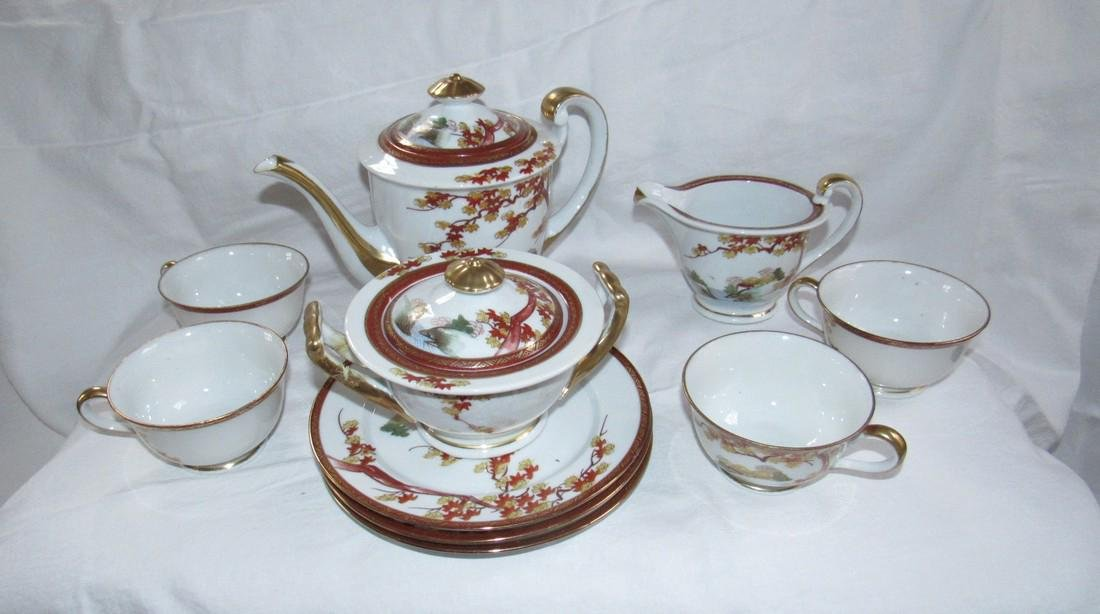 Oriental Tea Set Cups Saucers Tea Pot
