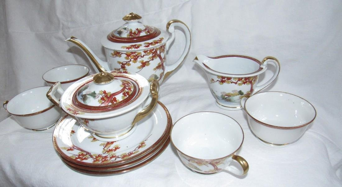 Oriental Tea Set Cups Saucers Tea Pot - 2