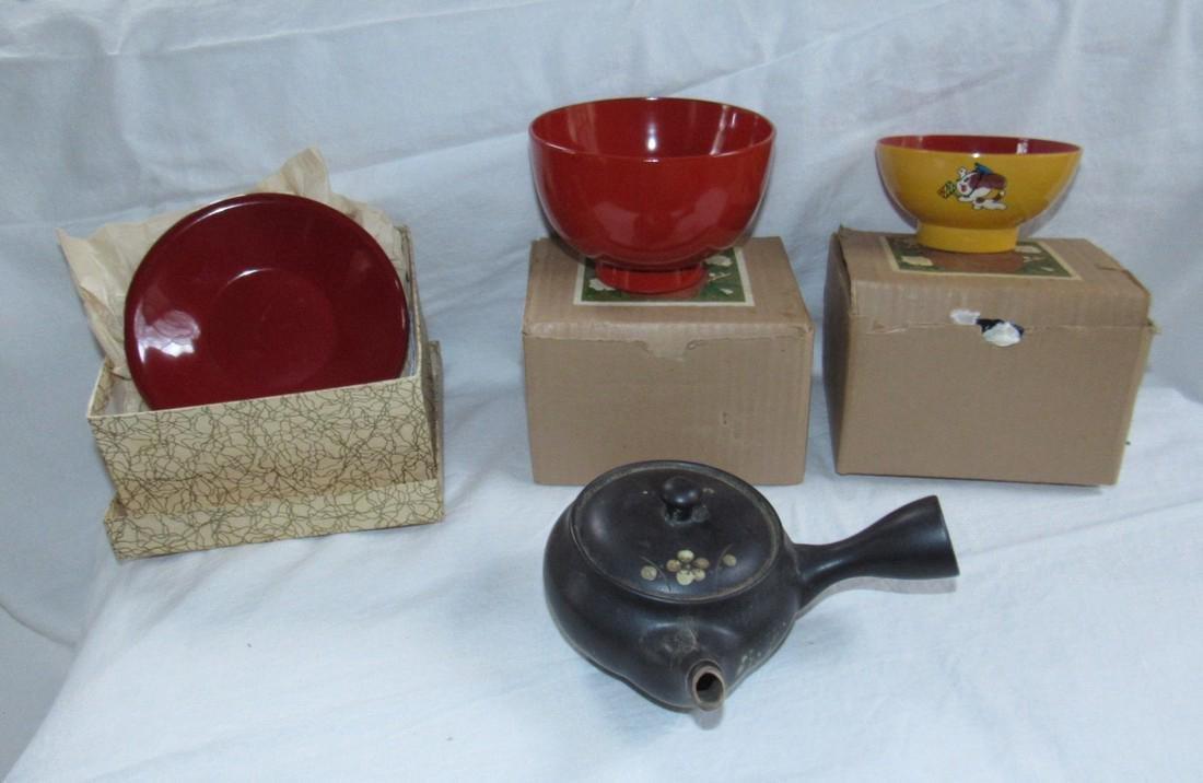 Oriental Cups Saucers Teapot