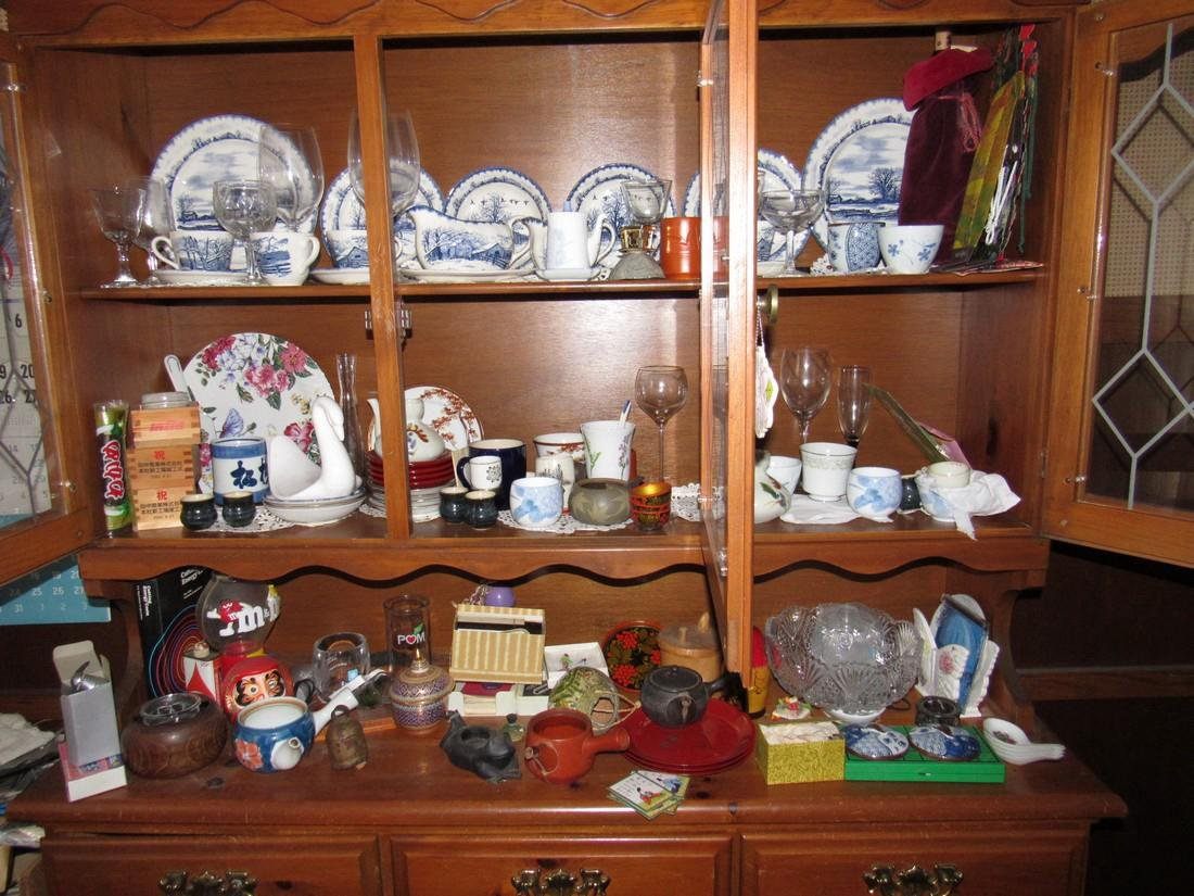 Oriental Dishes Glassware Hutch Top Contents