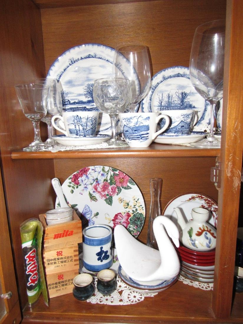 Oriental Dishes Glassware Hutch Top Contents - 2
