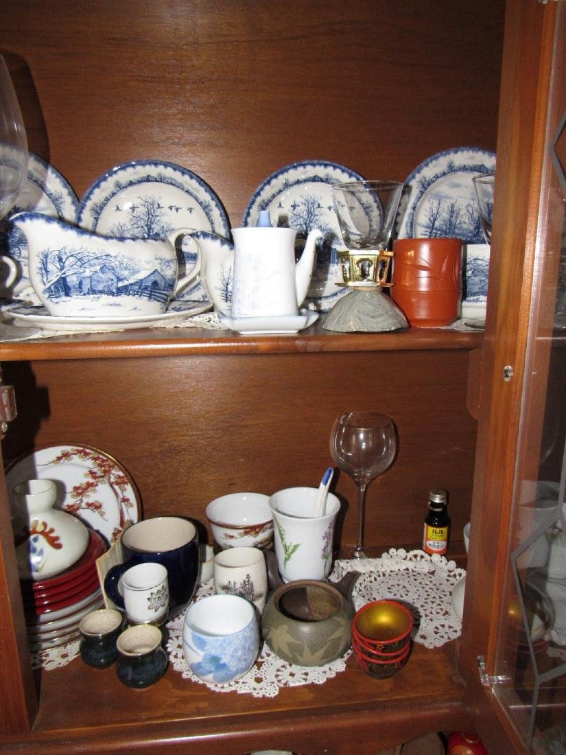 Oriental Dishes Glassware Hutch Top Contents - 3