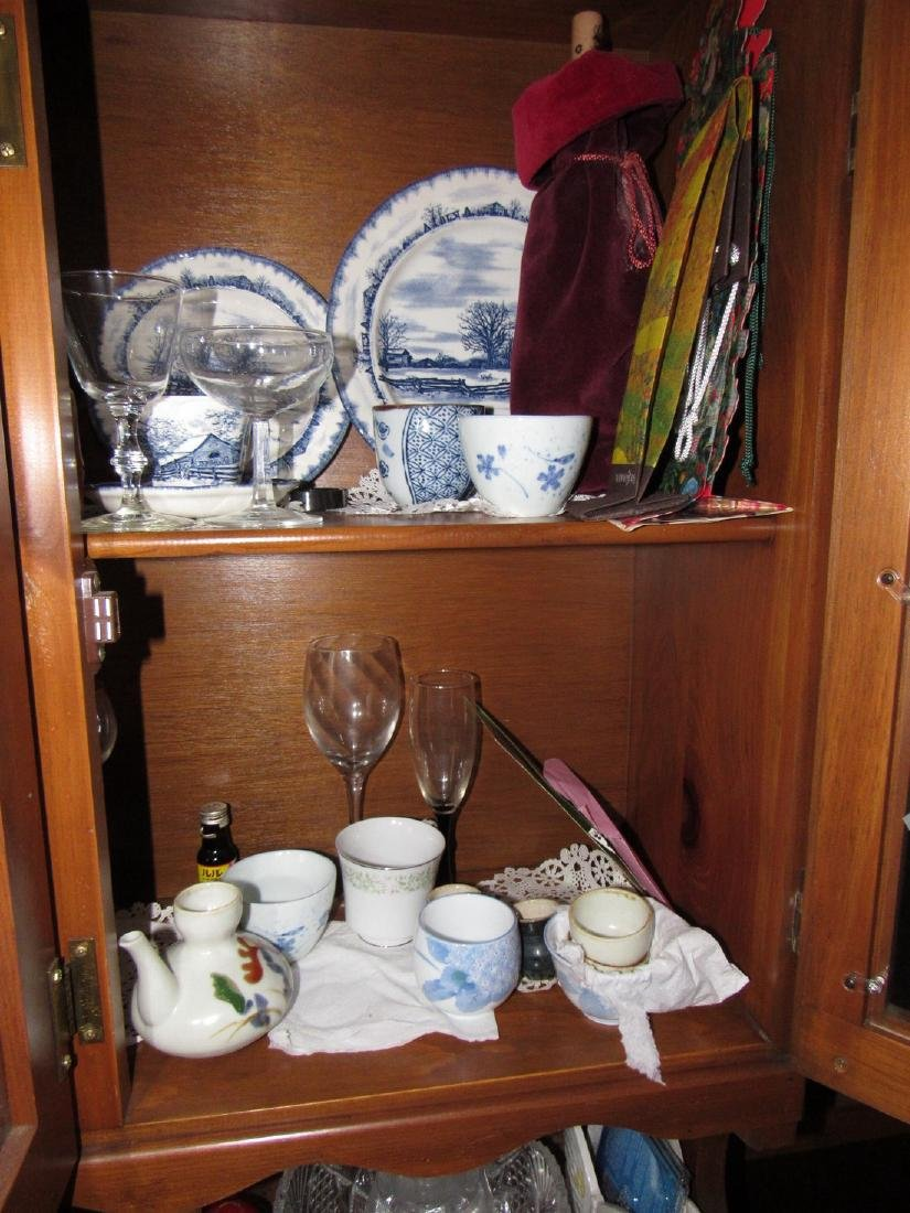 Oriental Dishes Glassware Hutch Top Contents - 4