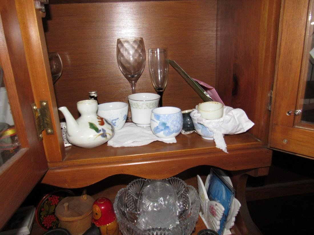 Oriental Dishes Glassware Hutch Top Contents - 5