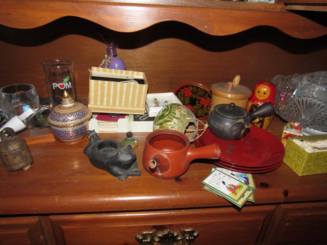 Oriental Dishes Glassware Hutch Top Contents - 7