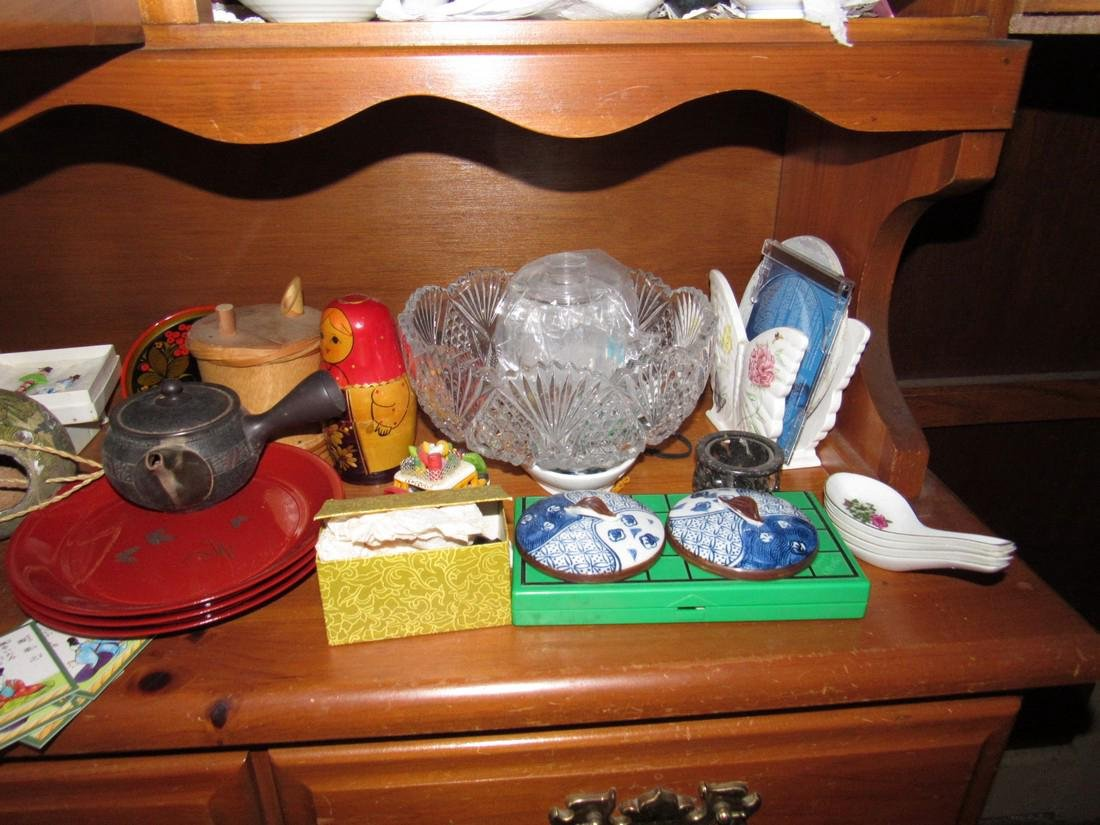 Oriental Dishes Glassware Hutch Top Contents - 8