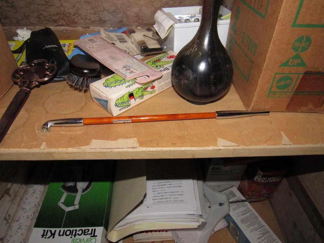 Closet Contents Wooden Bud Vase Pipe & Misc - 4