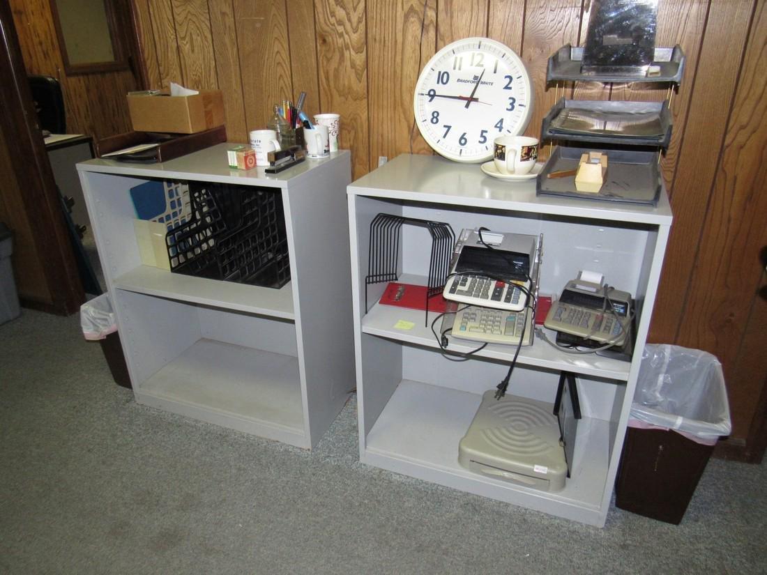 2 Shelves Calculators Clock Misc.