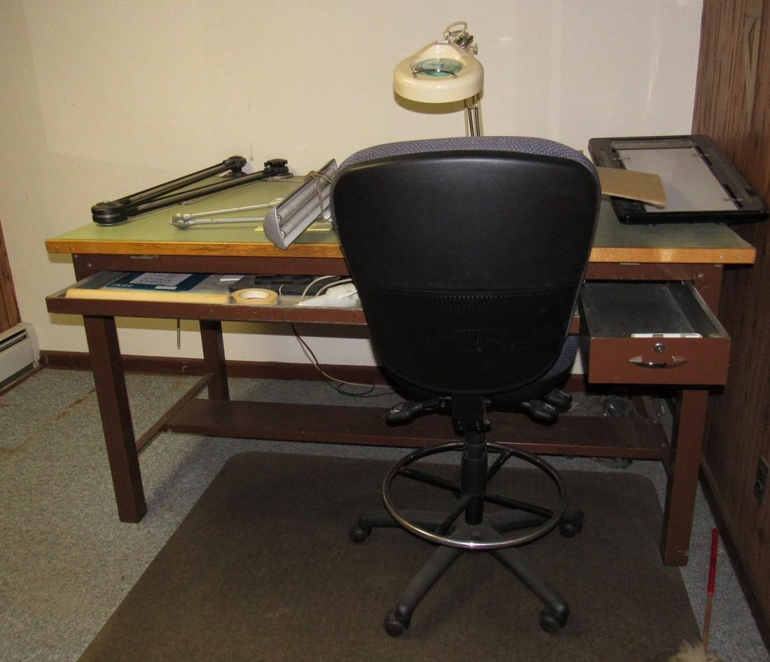 Drafting Table Lights & Chair