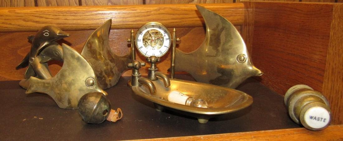 Brass Fish Clock & Misc