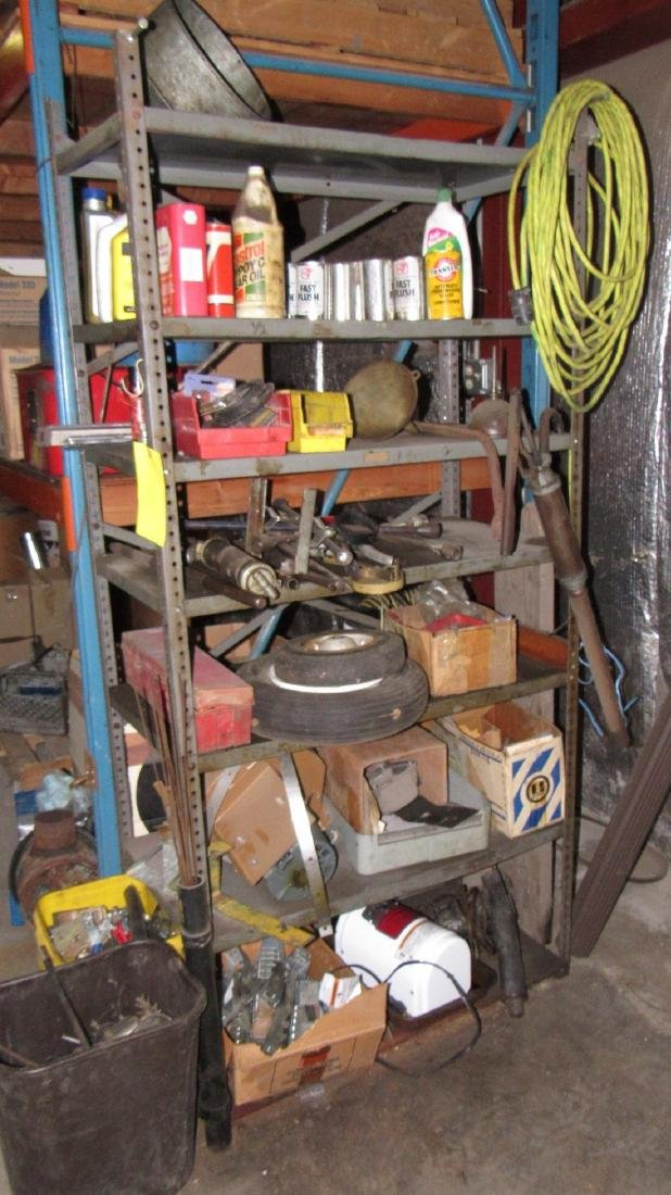 Shelf Contents Oils Grease Gun Lug Wrenches