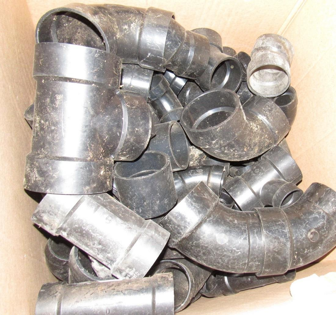 Large Lot of Misc ABS Fittings Elbows Y's Caps - 5